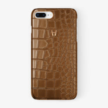Alligator Case iPhone 7/8 Plus | Cognac - Rose Gold