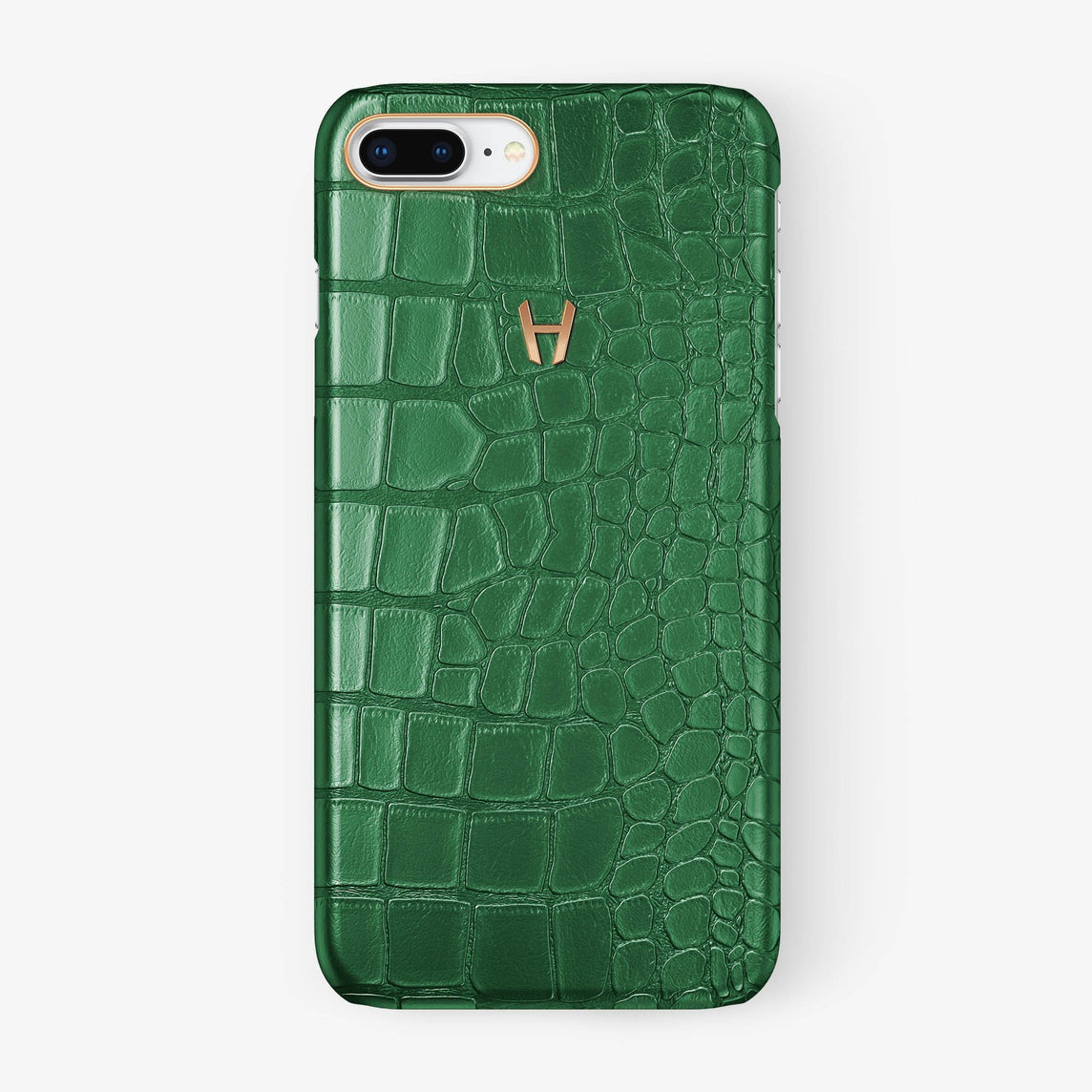 Alligator [iPhone Case] [model:iphone-7p-8p-case] [colour:green] [finishing:rose-gold] - Hadoro