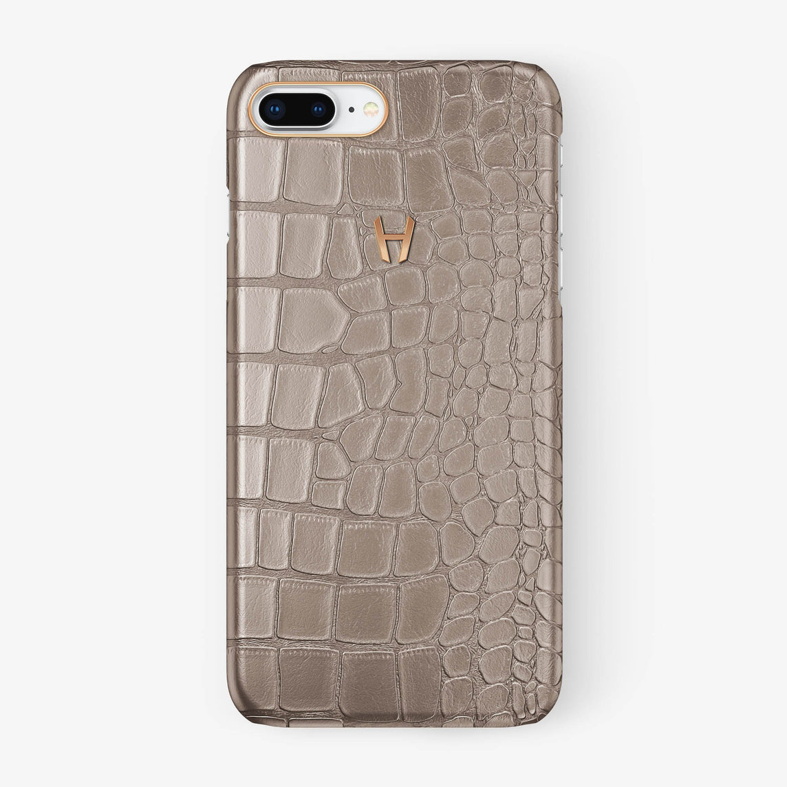 Alligator Case iPhone 7/8 Plus | Latte - Rose Gold
