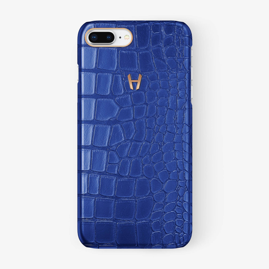 Alligator Case iPhone 7/8 Plus | Peony Blue - Rose Gold