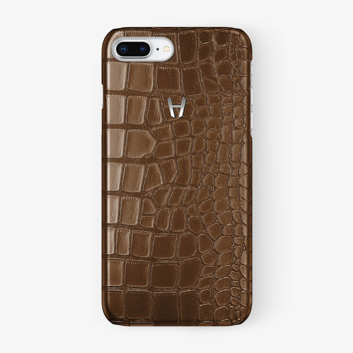Alligator Case iPhone 7/8 Plus | Brown - Stainless Steel
