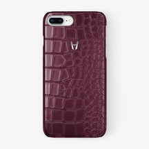 Alligator Case iPhone 7/8 Plus | Burgundy - Stainless Steel