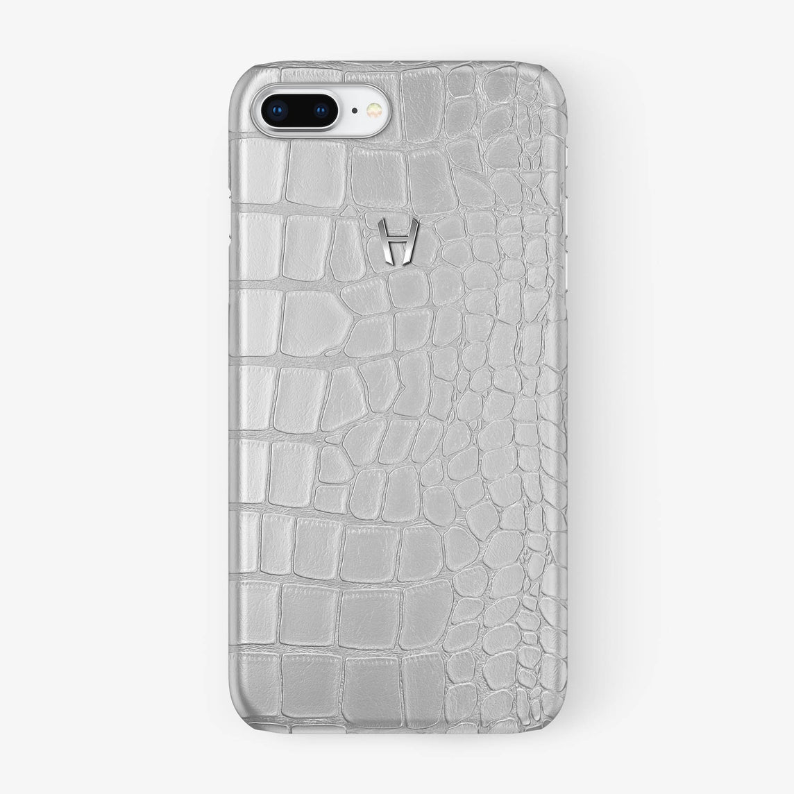 Alligator Case iPhone 7/8 Plus | White - Stainless Steel - Hadoro