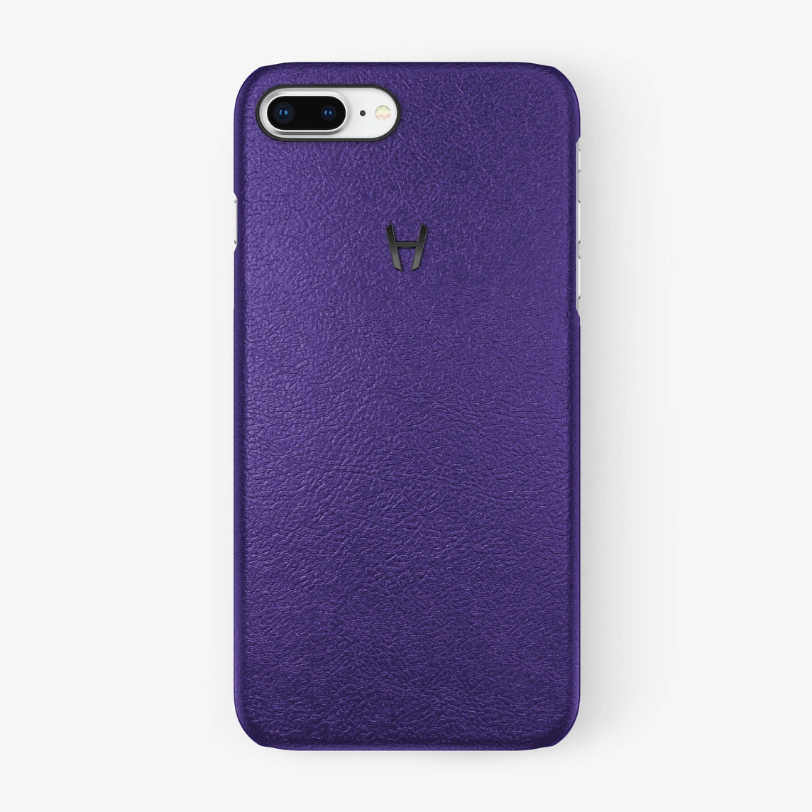 Purple Calfskin iPhone Case for iPhone 7/8 Plus finishing black - Hadoro Luxury Cases