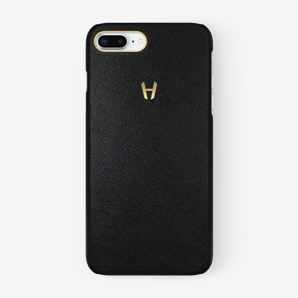 Black Calfskin iPhone Case for iPhone 7/8 Plus finishing yellow gold - Hadoro Luxury Cases