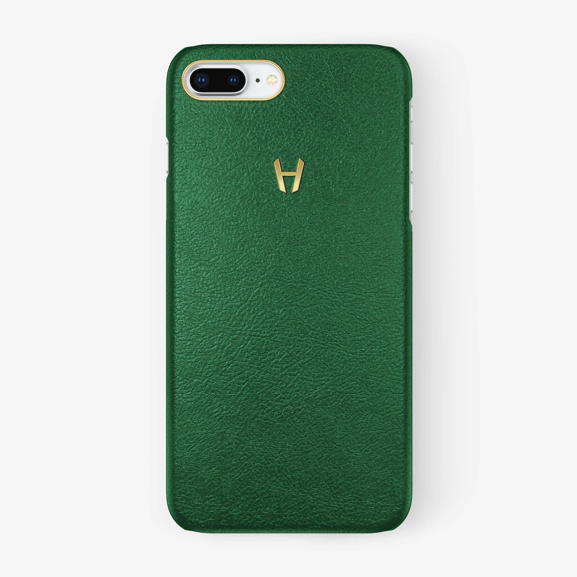 Calfskin Case iPhone 7/8 Plus | Green - Yellow Gold without-personalization