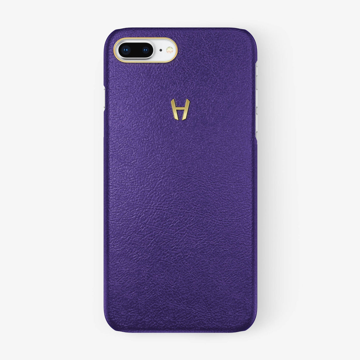 Calfskin Case iPhone 7/8 Plus | Purple - Yellow Gold without-personalization