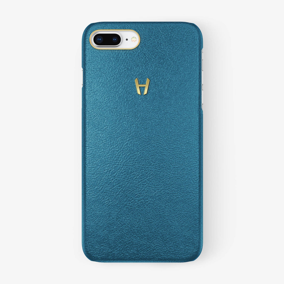 Calfskin Case iPhone 7/8 Plus | Teal - Yellow Gold without-personalization