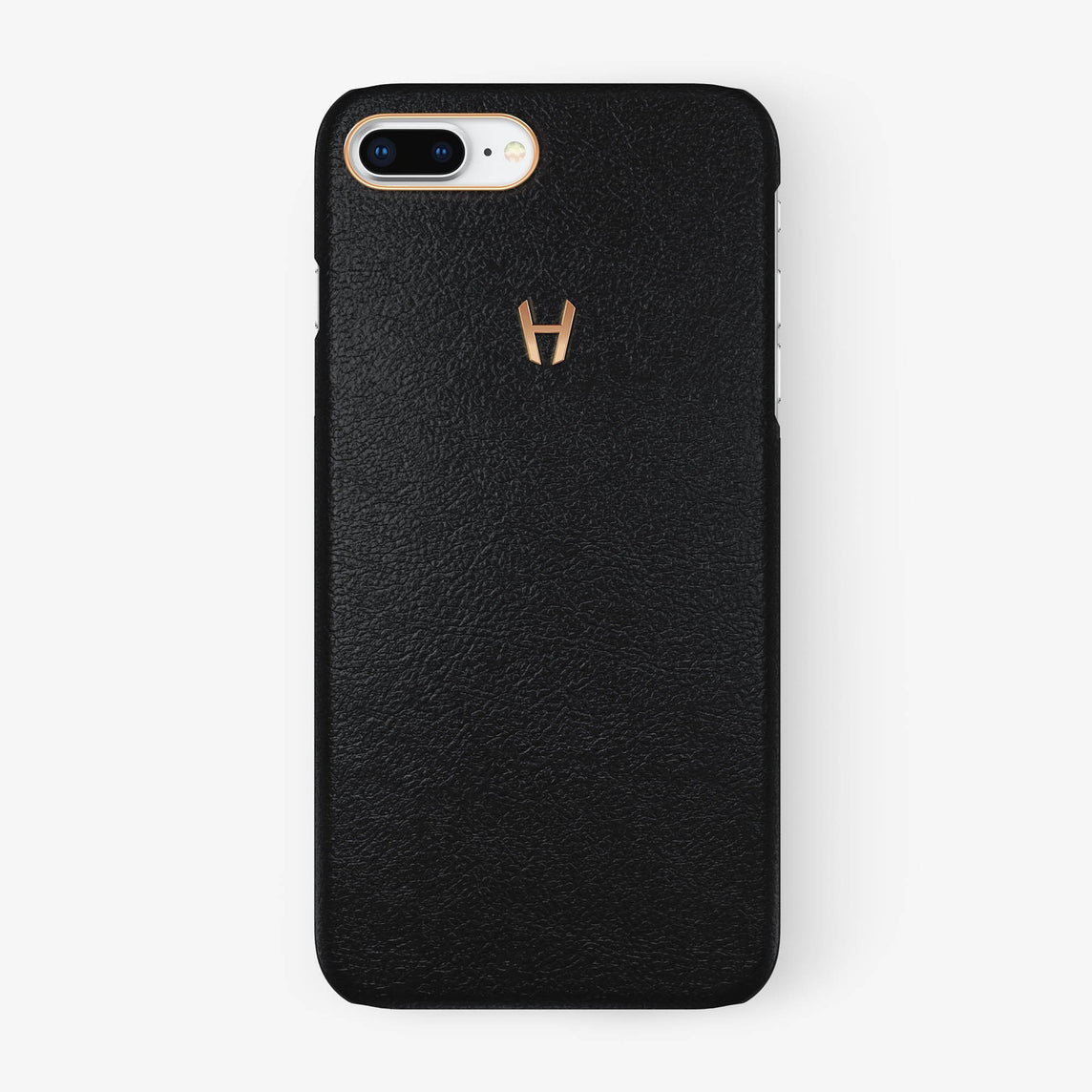 Calfskin Case iPhone 7/8 Plus | Black - Rose Gold without-personalization