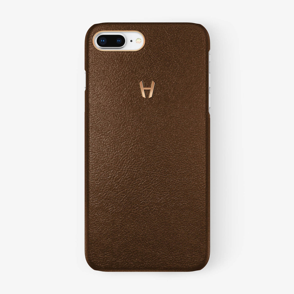 Calfskin Case iPhone 7/8 Plus | Brown - Rose Gold without-personalization