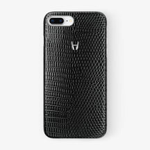 Black Lizard iPhone Case for iPhone 7/8 Plus finishing stainless steel - Hadoro Luxury Cases