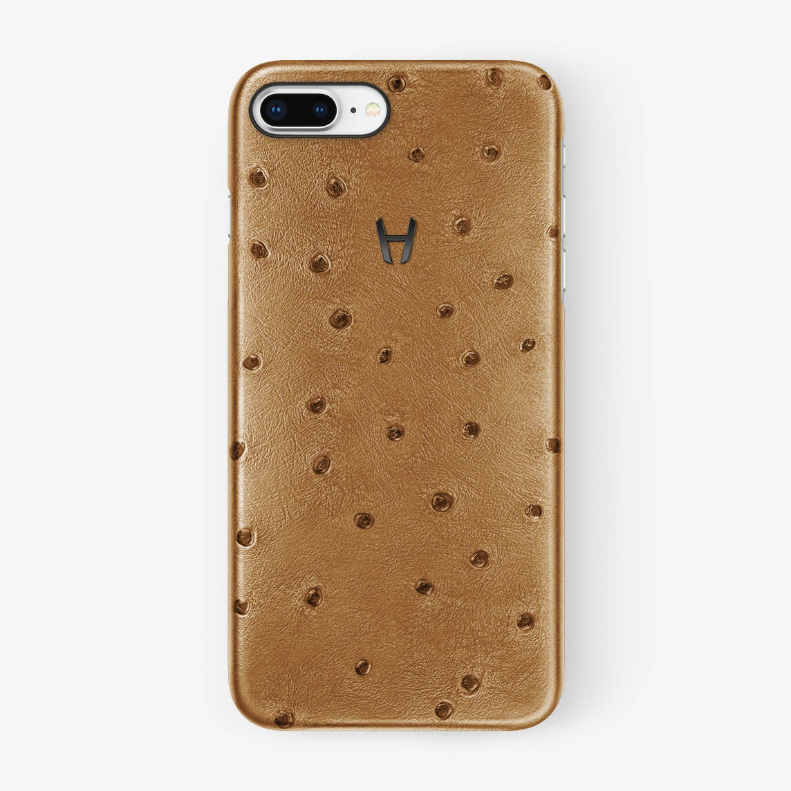 Ostrich Case iPhone 7/8 Plus | Chestnut - Black without-personalization