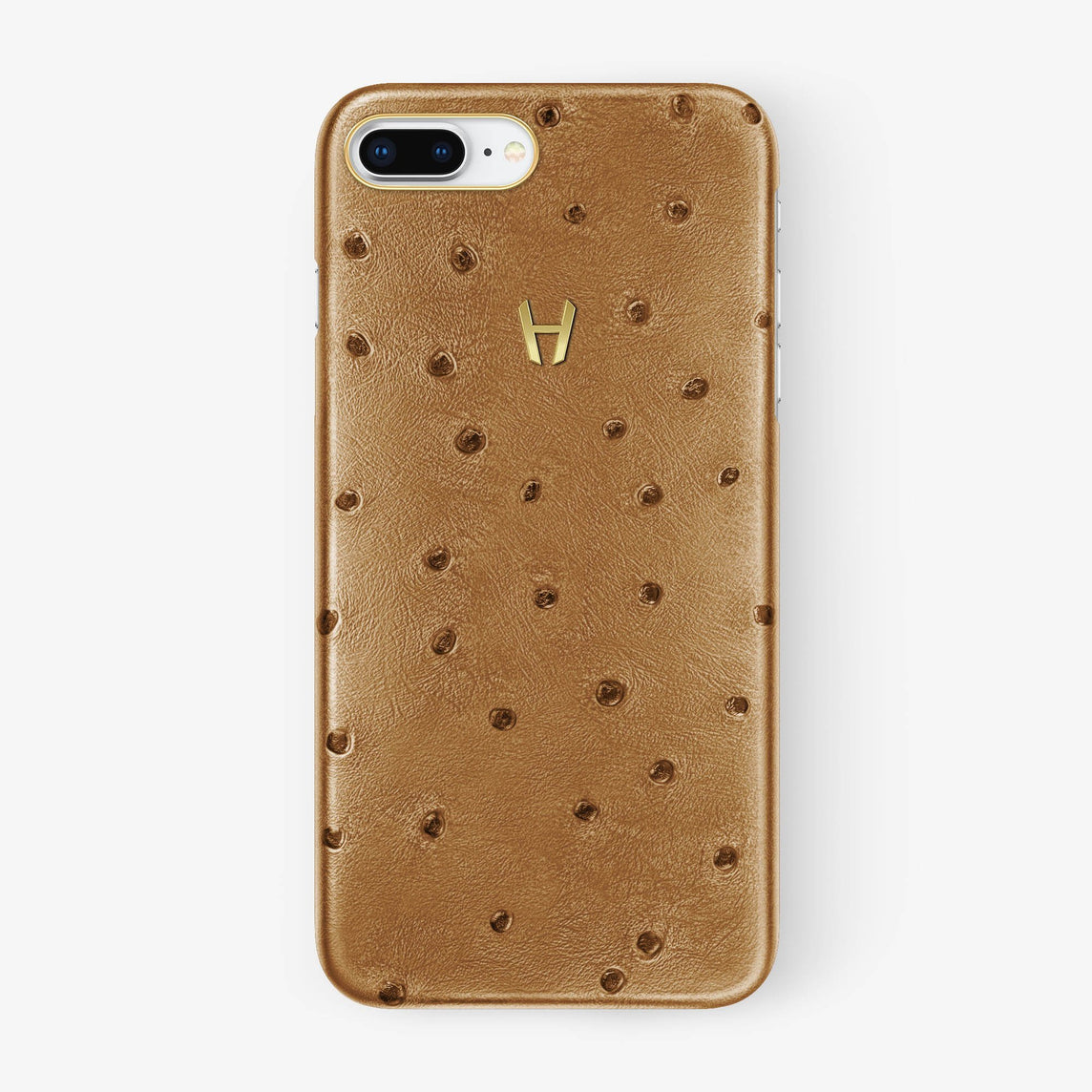 Chestnut Ostrich iPhone Case for iPhone 7/8 Plus finishing yellow gold - Hadoro Luxury Cases