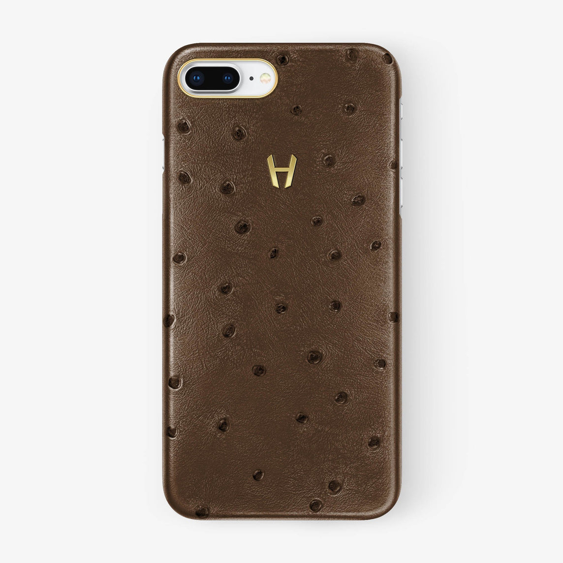 Tobacco Ostrich iPhone Case for iPhone 7/8 Plus finishing yellow gold - Hadoro Luxury Cases