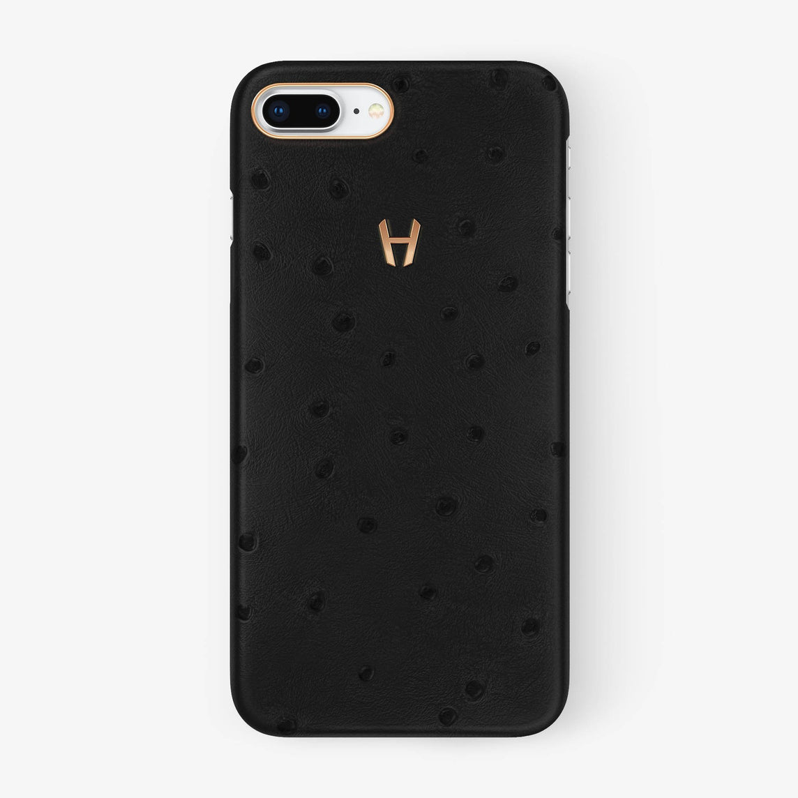 Ostrich Case iPhone 7/8 Plus | Anthracite - Rose Gold without-personalization