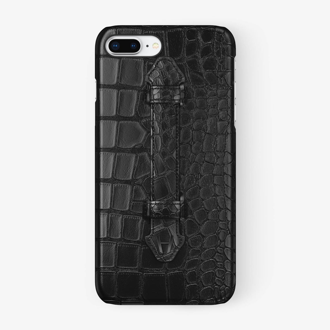 Black Alligator iPhone Finger Case for iPhone 7/8 Plus finishing black - Hadoro Luxury Cases