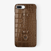 Brown Alligator iPhone Finger Case for iPhone 7/8 Plus finishing black - Hadoro Luxury Cases