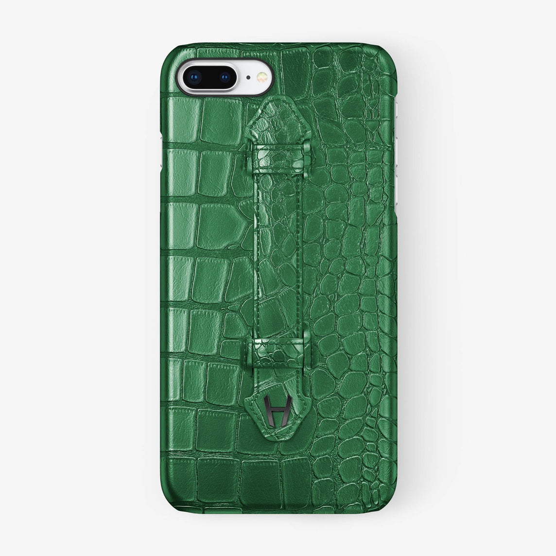Green Alligator iPhone Finger Case for iPhone 7/8 Plus finishing black - Hadoro Luxury Cases