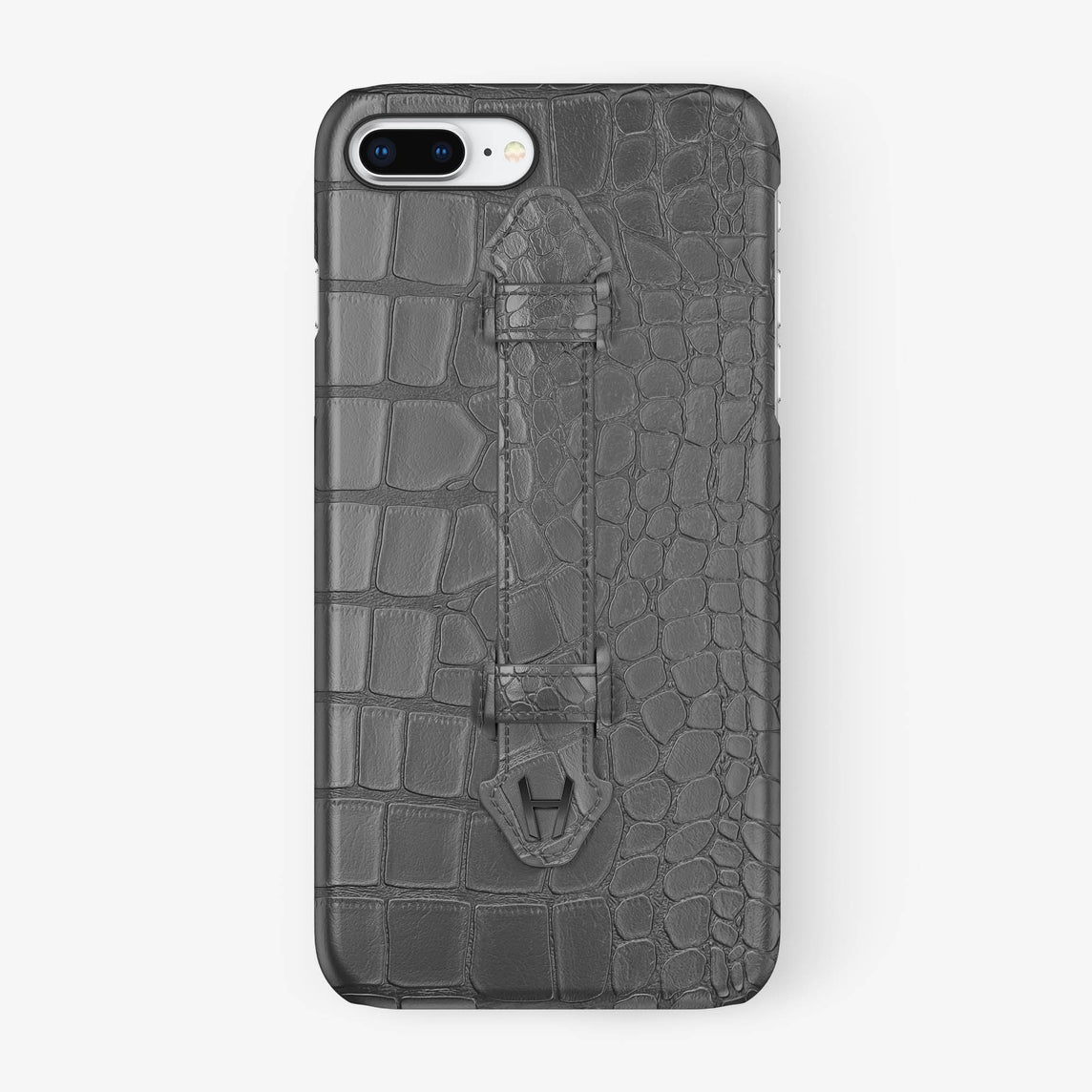 Grey Alligator iPhone Finger Case for iPhone 7/8 Plus finishing black - Hadoro Luxury Cases
