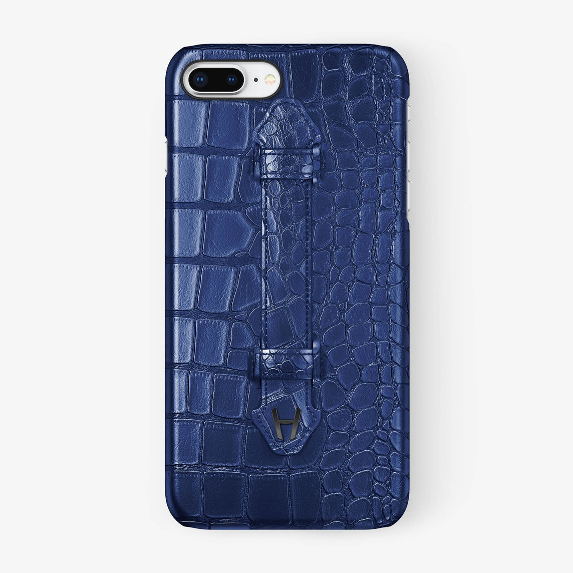 Navy Blue Alligator iPhone Finger Case for iPhone 7/8 Plus finishing black - Hadoro Luxury Cases