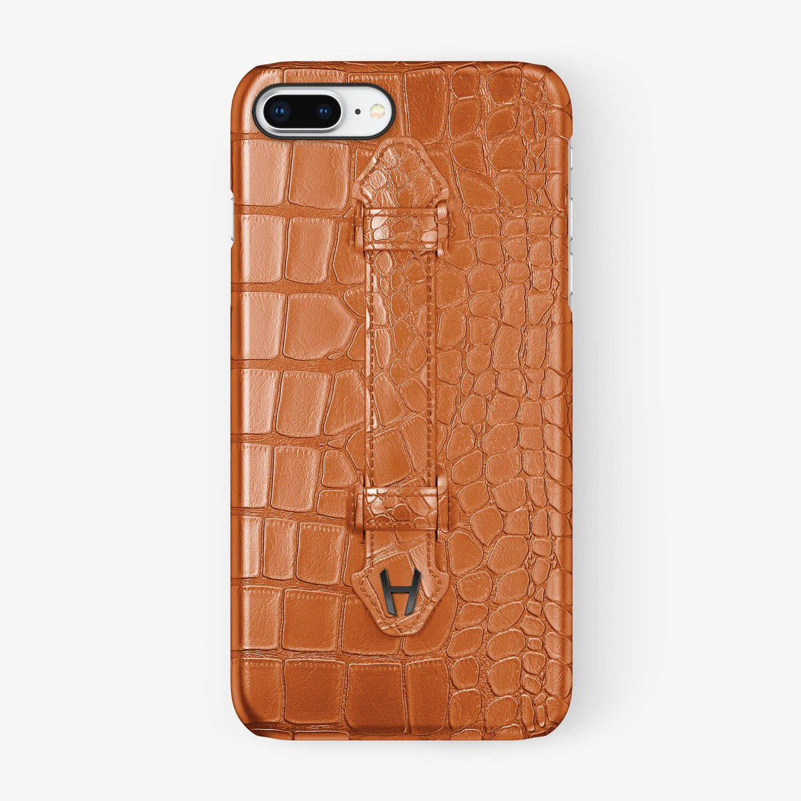 Orange Alligator iPhone Finger Case for iPhone 7/8 Plus finishing black - Hadoro Luxury Cases