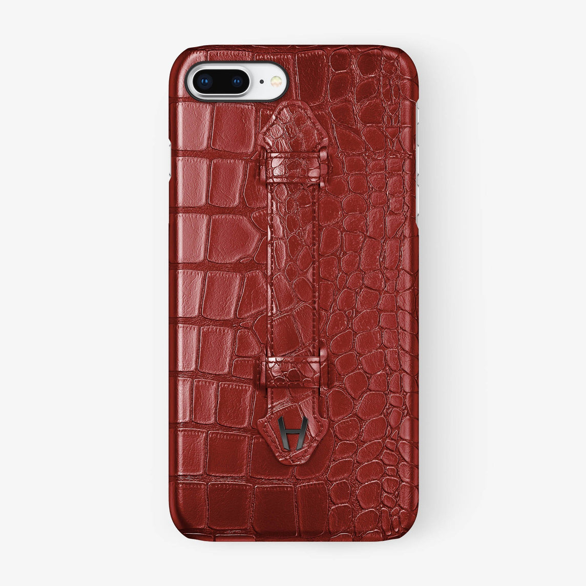 Red Alligator iPhone Finger Case for iPhone 7/8 Plus finishing black - Hadoro Luxury Cases