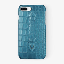 Teal Alligator iPhone Finger Case for iPhone 7/8 Plus finishing black - Hadoro Luxury Cases