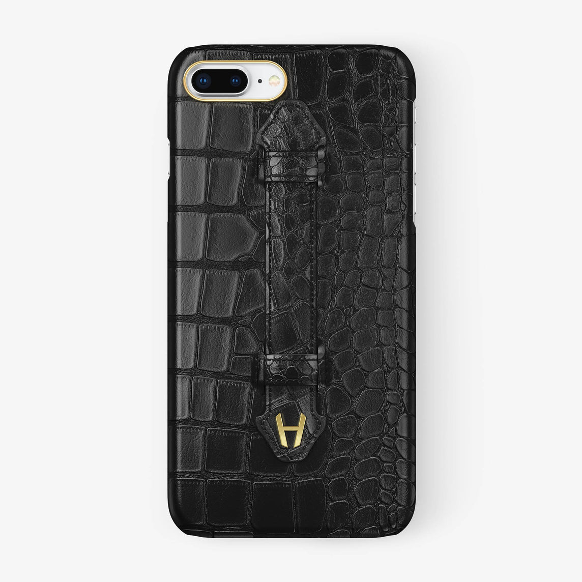 Black Alligator iPhone Finger Case for iPhone 7/8 Plus finishing yellow gold - Hadoro Luxury Cases