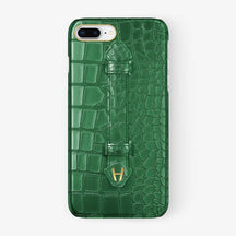 Green Alligator iPhone Finger Case for iPhone 7/8 Plus finishing yellow gold - Hadoro Luxury Cases