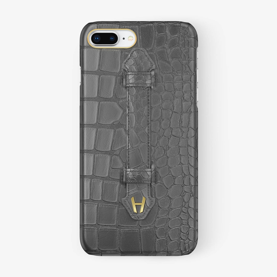 Grey Alligator iPhone Finger Case for iPhone 7/8 Plus finishing yellow gold - Hadoro Luxury Cases