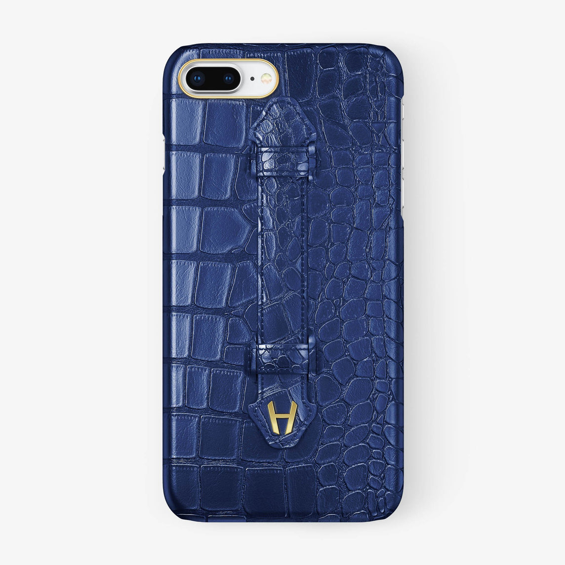Navy Blue Alligator iPhone Finger Case for iPhone 7/8 Plus finishing yellow gold - Hadoro Luxury Cases