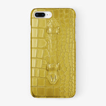 Yellow Alligator iPhone Finger Case for iPhone 7/8 Plus finishing yellow gold - Hadoro Luxury Cases