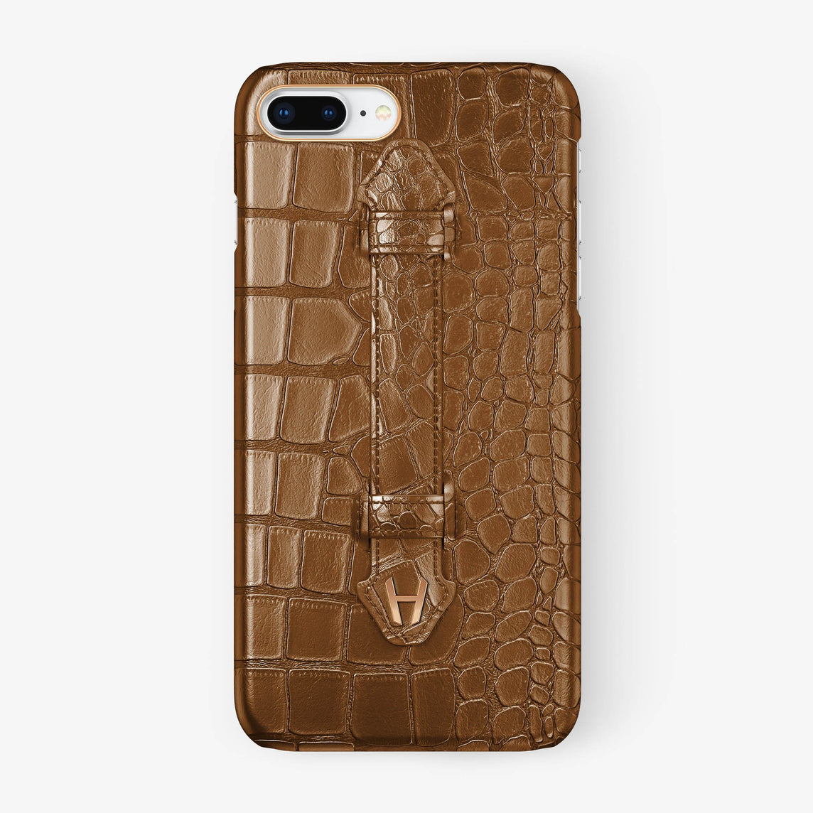 Cognac Alligator iPhone Finger Case for iPhone 7/8 Plus finishing rose gold - Hadoro Luxury Cases