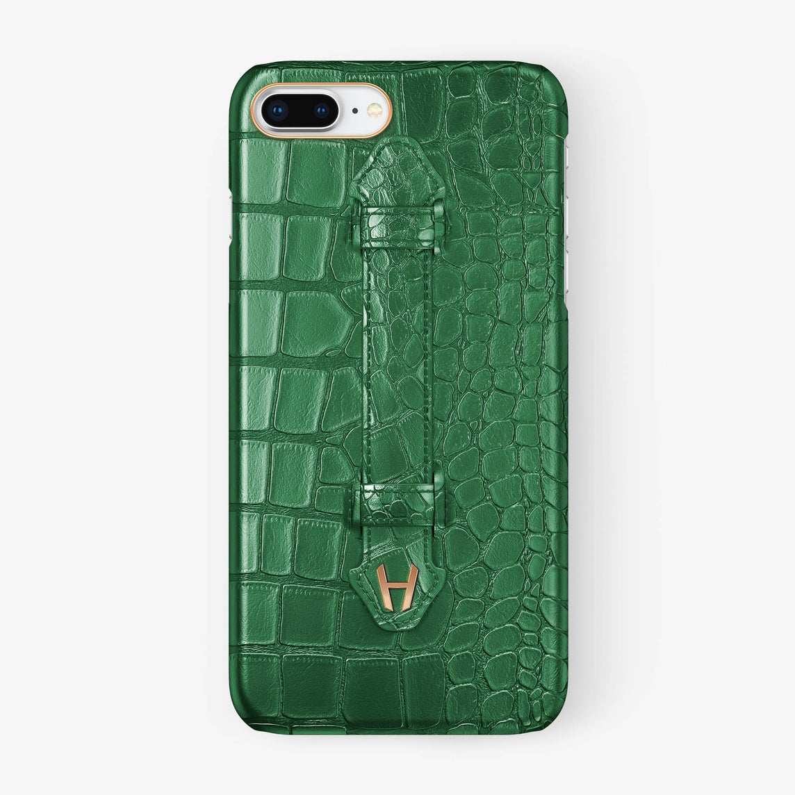 Green Alligator iPhone Finger Case for iPhone 7/8 Plus finishing rose gold - Hadoro Luxury Cases