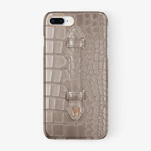 Latte Alligator iPhone Finger Case for iPhone 7/8 Plus finishing rose gold - Hadoro Luxury Cases
