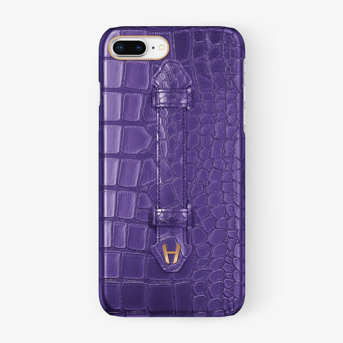 Purple Alligator iPhone Finger Case for iPhone 7/8 Plus finishing rose gold - Hadoro Luxury Cases
