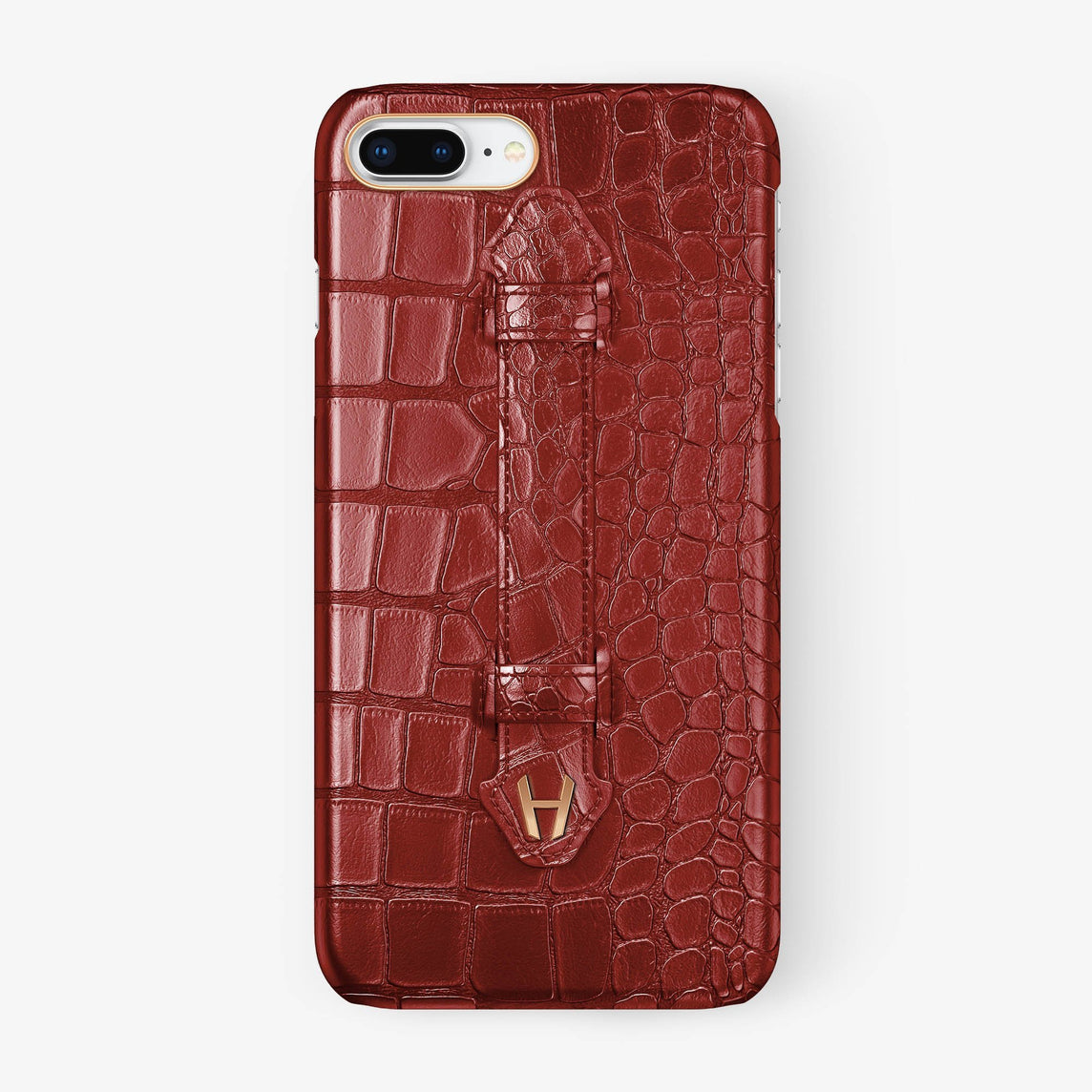 Red Alligator iPhone Finger Case for iPhone 7/8 Plus finishing rose gold - Hadoro Luxury Cases