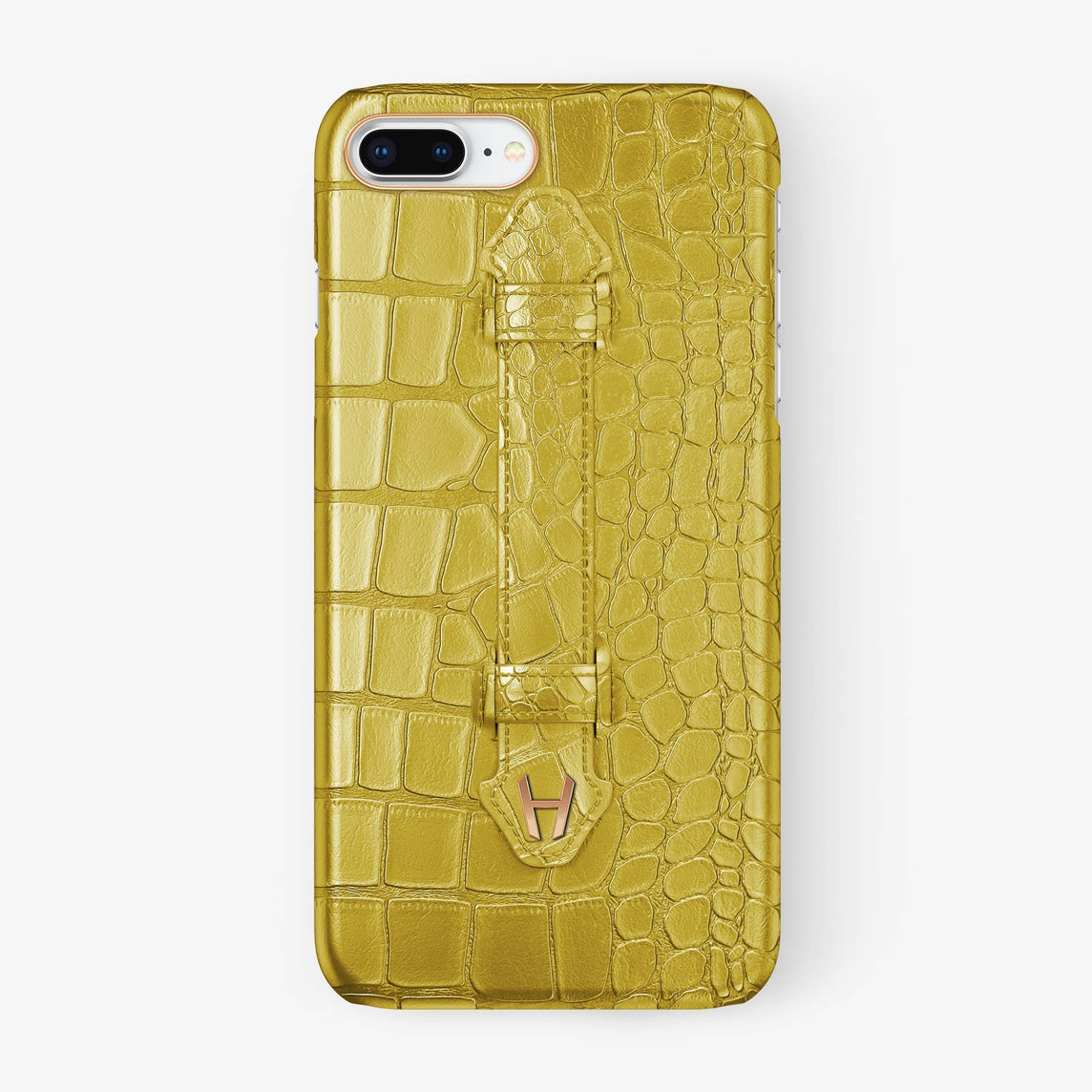 Yellow Alligator iPhone Finger Case for iPhone 7/8 Plus finishing rose gold - Hadoro Luxury Cases