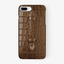 Brown Alligator iPhone Finger Case for iPhone 7/8 Plus finishing stainless steel - Hadoro Luxury Cases