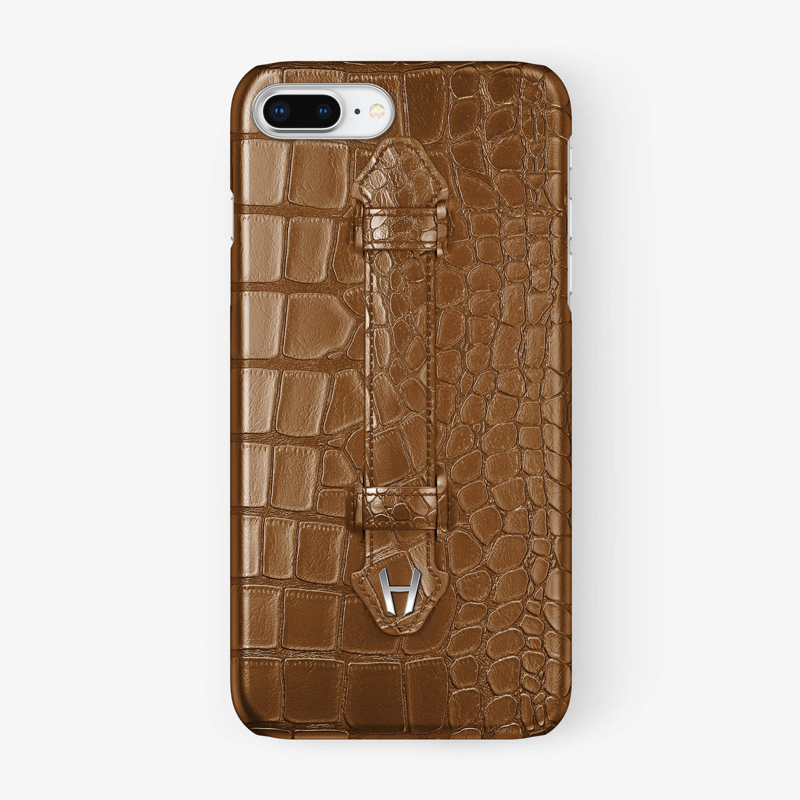 Alligator Finger Case iPhone 7/8 Plus | Cognac - Stainless Steel