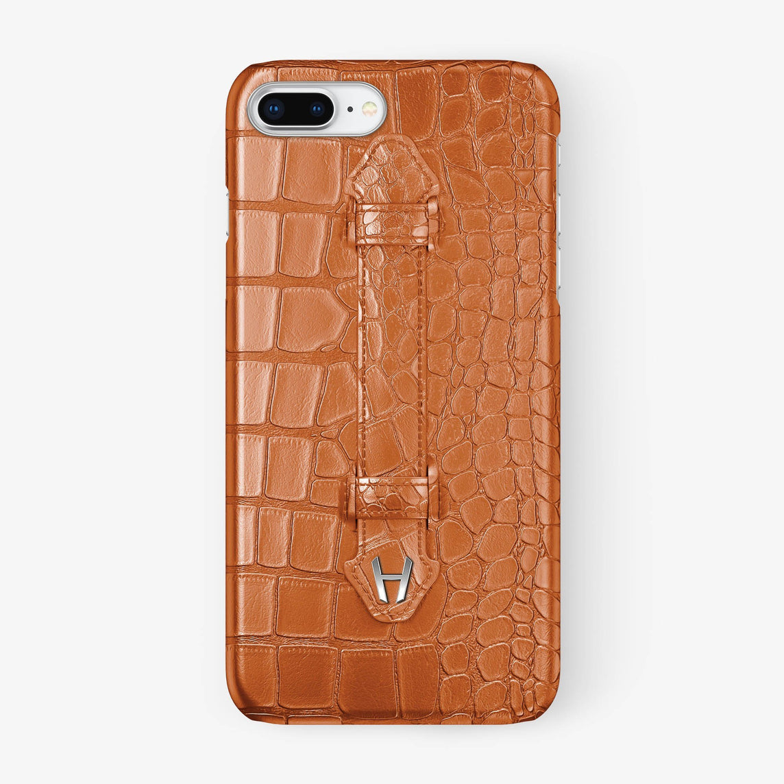 Orange Alligator iPhone Finger Case for iPhone 7/8 Plus finishing stainless steel - Hadoro Luxury Cases