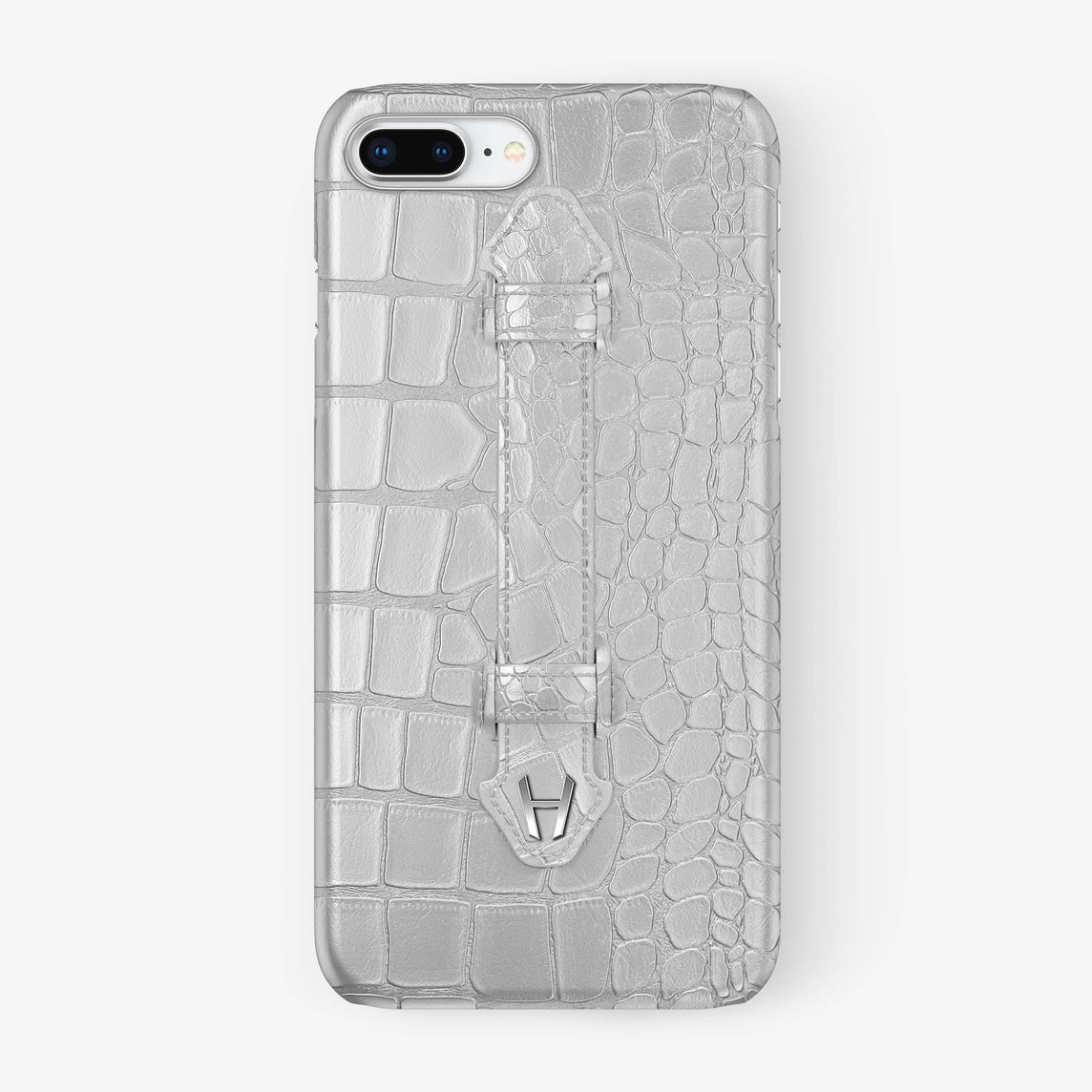 White Alligator iPhone Finger Case for iPhone 7/8 Plus finishing stainless steel - Hadoro Luxury Cases