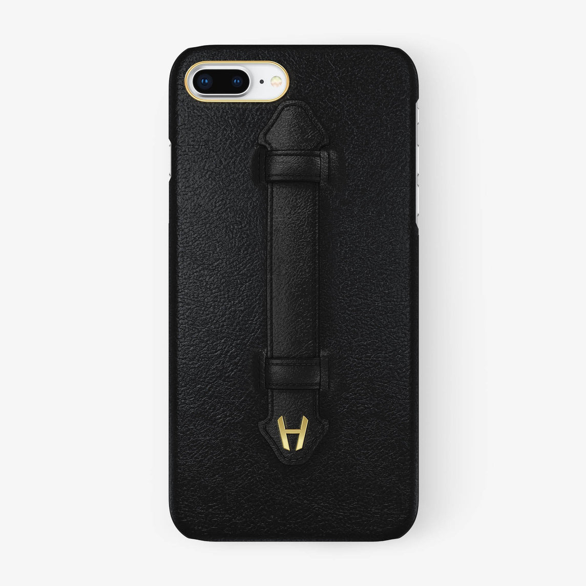Black Calfskin iPhone Finger Case for iPhone 7/8 Plus finishing yellow gold - Hadoro Luxury Cases