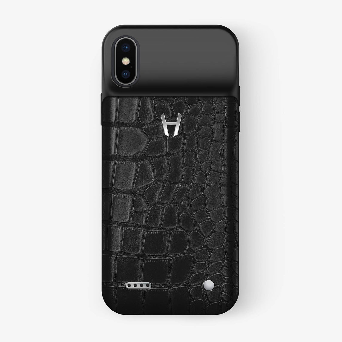 Black Alligator iPhone Battery Case Xs - stainless steel without-personalization