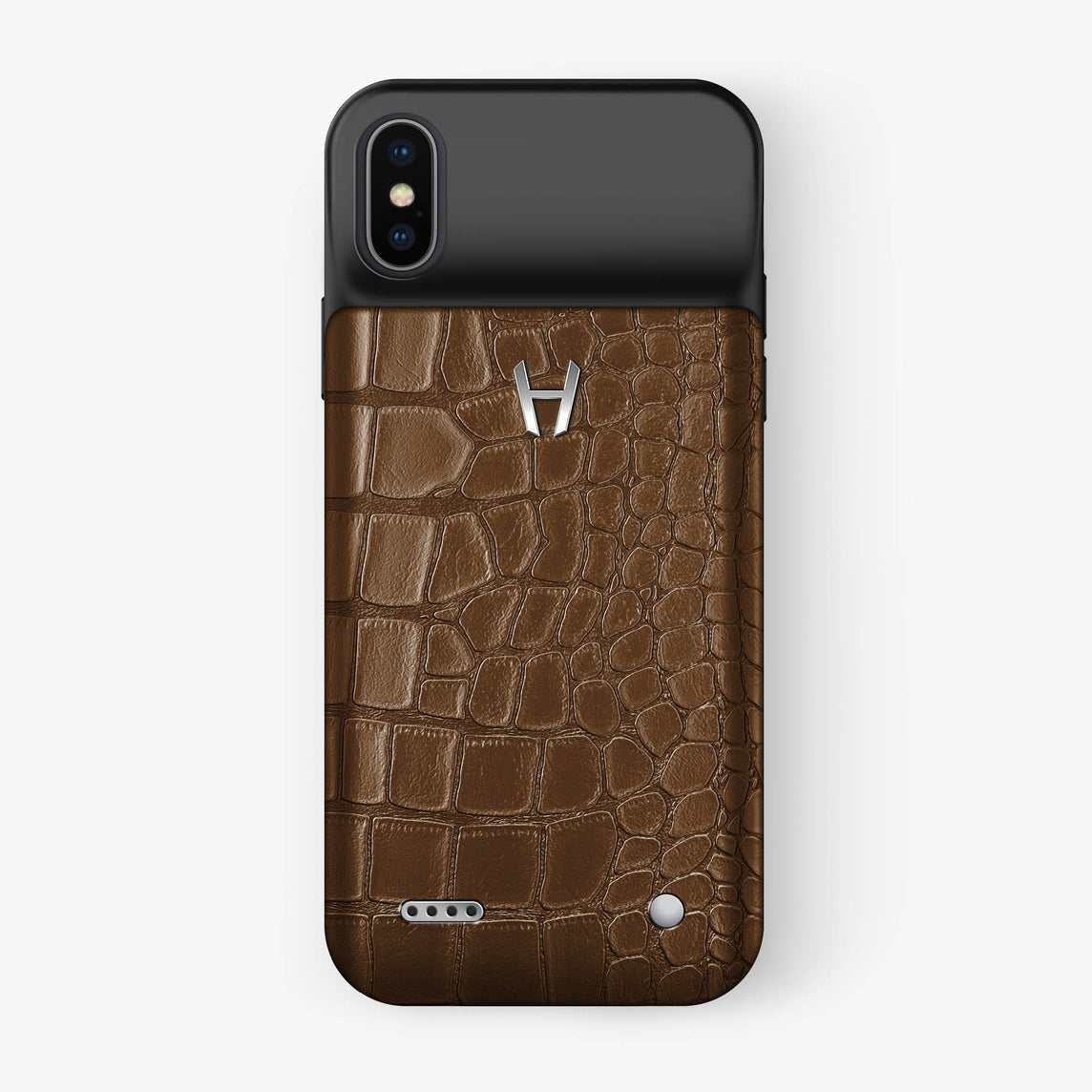 Alligator Battery Case iPhone Xs Max | Brown - Stainless Steel without-personalization