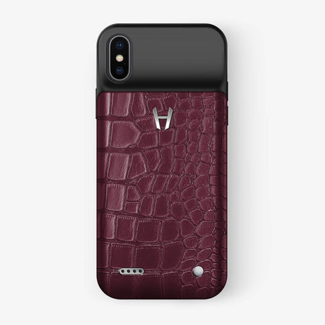 Alligator Battery Case iPhone X/Xs | Burgundy - Stainless Steel - Hadoro