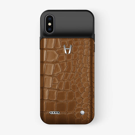 Alligator Battery Case iPhone X/Xs | Cognac - Stainless Steel - Hadoro