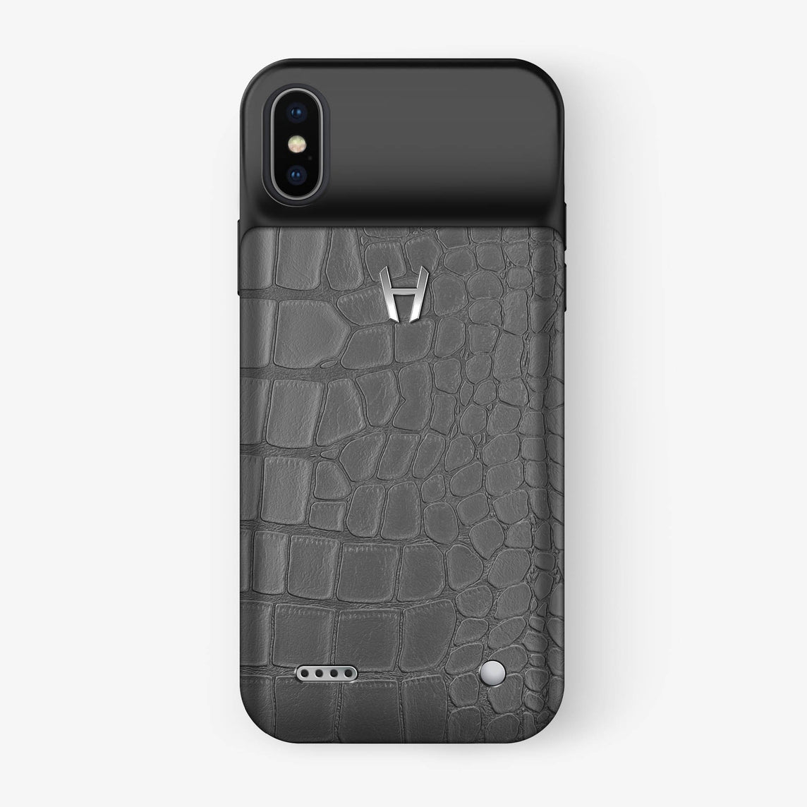 Alligator Battery Case iPhone X/Xs | Grey - Stainless Steel - Hadoro