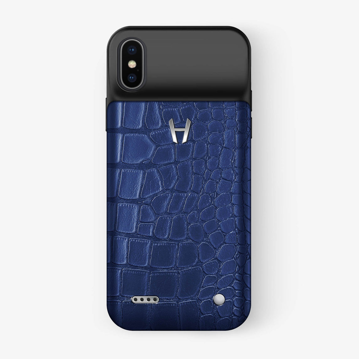 Alligator Battery Case iPhone X/Xs | Navy Blue - Stainless Steel - Hadoro