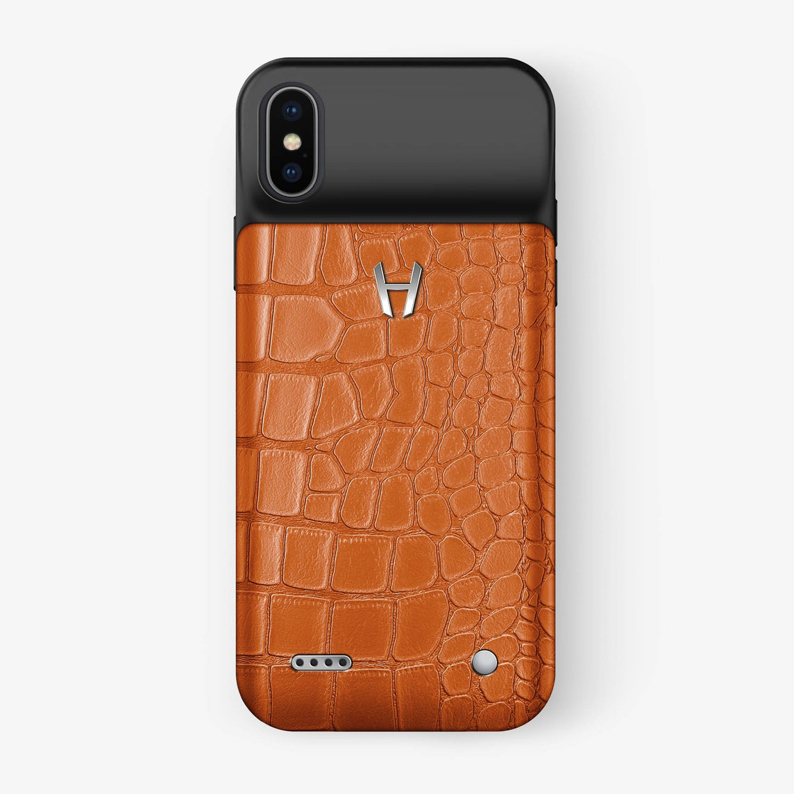 Alligator Battery Case iPhone X/Xs | Orange - Stainless Steel - Hadoro